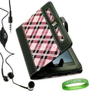 Stylish Pink Checker Plaid Melrose Leather Case and