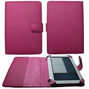 Premium Hot Pink Leather Padfolio Case with Magnetic Closure and Side
