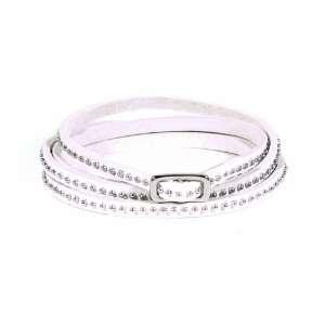 Tiny Studded Leather Wrap Bracelet   Silver/White