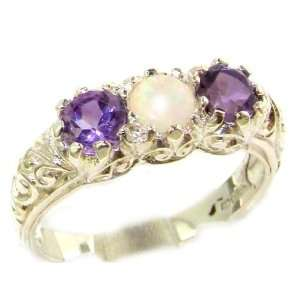 Luxury Solid Sterling Silver Natural Opal & Amethyst Art