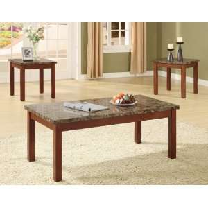 Portland Faux Marble Top Coffee/End Table Set, Brown