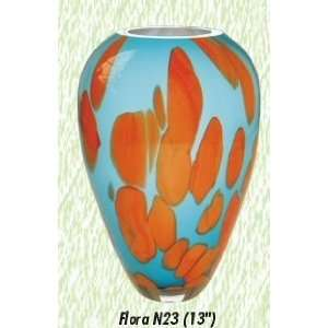 Blue and Orange Flora Vase Hand Blown Modern Glass Vase