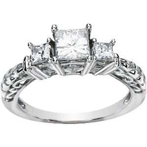 1.25 CT TW Moissanite 3 Stone Ring/14kt white gold Jewelry