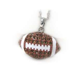 White Gold Plated Crystal Football Pendant Necklace Jewelry