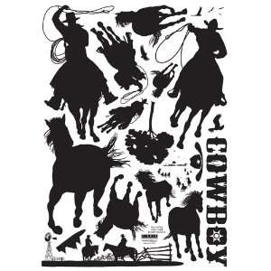 Reusable Decoration Wall Sticker Decal   Cowboy Rodeo Herd Baby