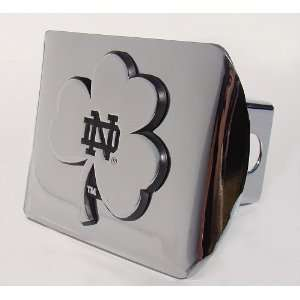 Notre Dame Chrome Plated Metal Hitch Cover with Shamrock