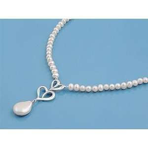 Pearl Strand Necklace with Sterling Silver Heart Pendant   Pearl