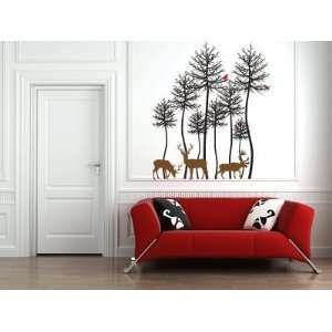 Deer and Trees Vinyl Wall Decal Sticker Graphic Medium By LKS Trading