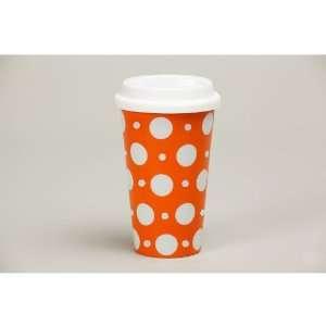 Orange Polka Dots Double Wall Travel Mug
