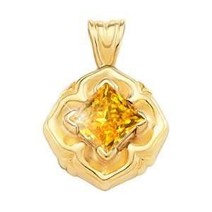 White Gold Pendant with Orange Yellow Diamond 1 1/4 carat Princess cut