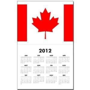 Calendar Print w Current Year Canadian Canada Flag HD
