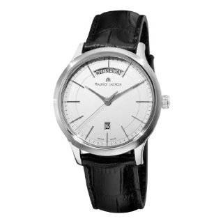 Quartz Silver Dial Black Leather Strap Watch Maurice Lacroix Watches
