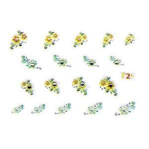 Orange & Green Floral Rhinestone Nail Stickers/Decals Beauty