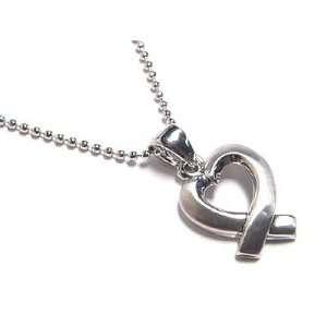 Designer Inspired Heart Ribbon Necklace   White Gold