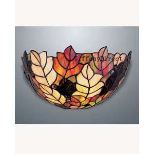 Style Stained Glass Wall Sconce Lamp Leaf Motif W1294
