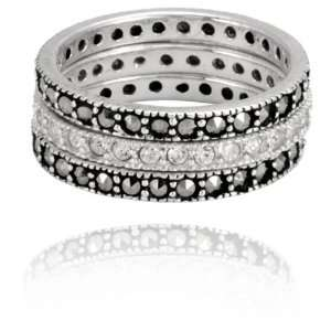 Sterling Silver Marcasite with Crystal 3 Band Set Ring