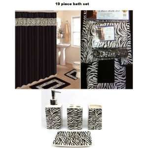 Animal Print Bath Rug Set + Black Zebra Shower Curtain & Accessories
