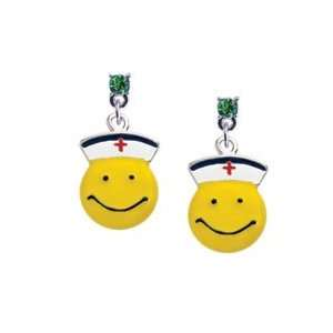 Smiley Face Nurse Peridot Swarovski Post Charm Earrings