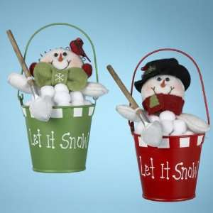 Pack of 6 Let it Snow Snowman in Bucket Christmas