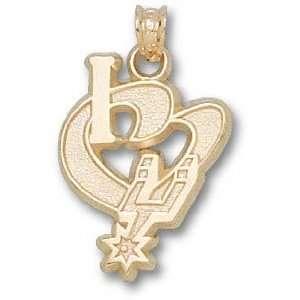 San Antonio Spurs Solid 14K Gold I Heart Logo 1/2