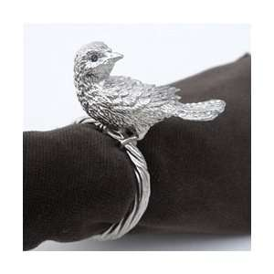 Platinum Bird Napkin Rings, Swarovski Crystals Set/4