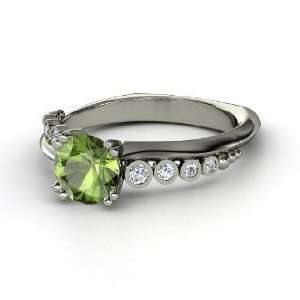 Isabella Ring, Round Green Tourmaline Sterling Silver Ring