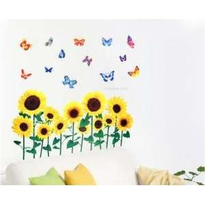 Easy Instant Decoration Wall Sticker Decal  Sunflowers & Butterflies