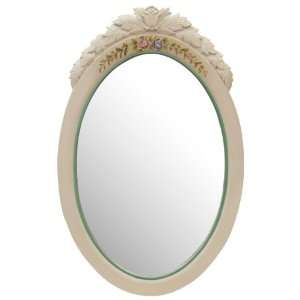 French Style Beveled Glass Wall Mirror   White Floral