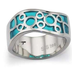 with Aqua Blue Resin Inlay   Size 7.5 West Coast Jewelry Jewelry