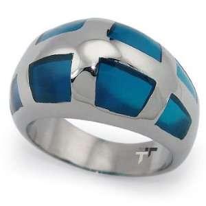 with Aqua Blue Resin Inlay   Size 5.5 West Coast Jewelry Jewelry