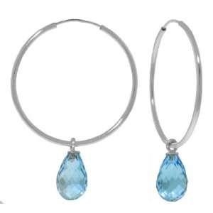 14k White Gold Hoop Earrings with dangling Blue Topaz