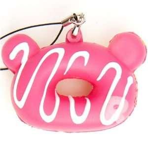pink Rilakkuma donut squishy cellphone charm sauce Toys & Games