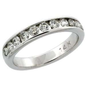 14k White Gold 11 Stone Ladies Diamond Ring Band w/ 0.81