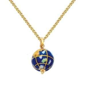 14K Yellow Gold Earth Globe Enamel Charm Pendant with Yellow Gold 1