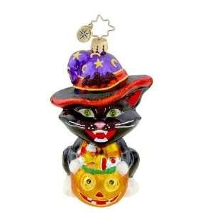 RADKO WITCHY WANNABE Black Cat Halloween Glass Ornament