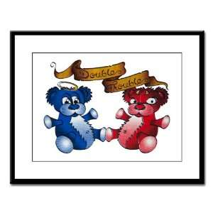 Framed Print Double Trouble Bears Angel and Devil