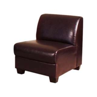 Homelegance Faux Leather Armless Chair, Dark Brown