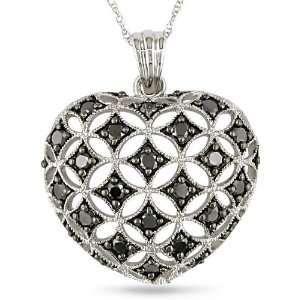 10k Gold 1ct TDW Black Diamond Heart Necklace Jewelry