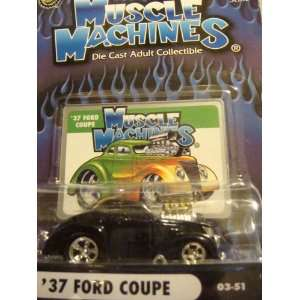 Muscle Machines 37 Ford Coupe  Black, Blown Big Block, Rubber Treaded