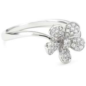 Collection Diamond 14k White Gold Small Flower Ring, Size 6 Jewelry