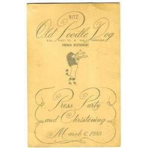 Ritz Old Poodle Dog Press Party Menu 1958 San Francisco