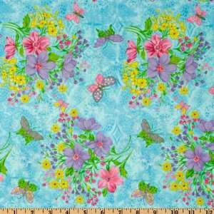 44 Wide Butterfly Kisses Flowers Light Ocean Fabric By