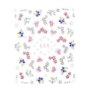 Pink Butterfly & Blue/Purple/White Floral Nail Stickers/Decals Beauty