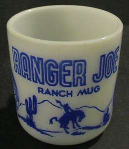 VINTAGE HAZEL ATLAS BLUE RANGER JOE RANCH MUG / CUP