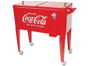 Vintage Steel Coca Cola Ice Box Cooler with Caster Wheels