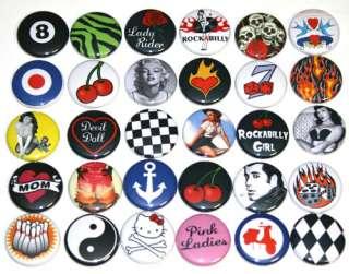 Bulk Lot RETRO ROCKABILLY BADGES x 30 Buttons Pins