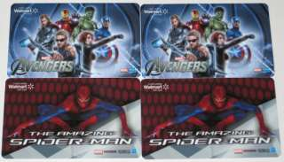 THE AMAZING SPIDER MAN/AVENGERS COLLECTIBLE GIFT CARDS NO VALUE