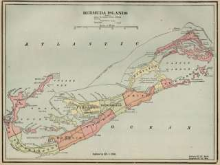 Bermuda Islands Map Authentic 1899 showing Cities; Ports Topography
