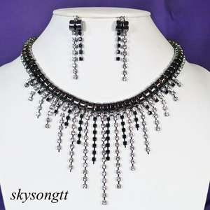 Swarovski Black Rhinestone Crystal Bridal Chandelier Necklace Earrings