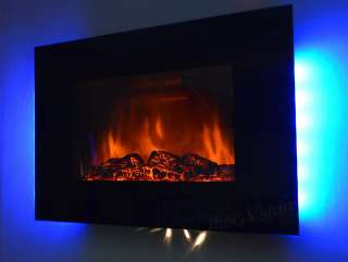 GV Tempered Glass Panel Electric Fireplace Heater 1500W Heater